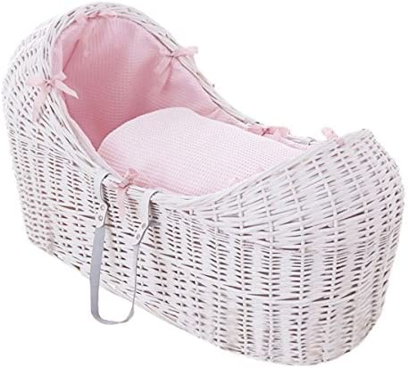 Pink Clair de Lune Dimple Grey Noah Pod Wicker Moses Basket