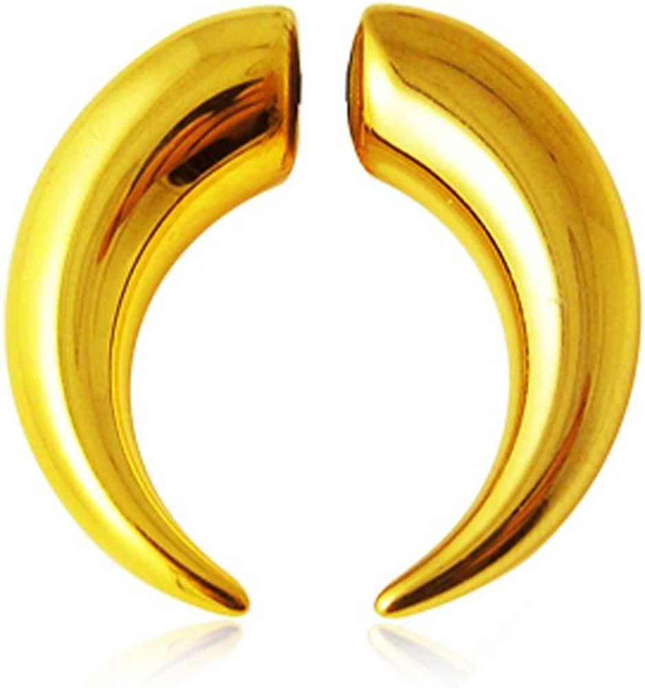 AtoZ Piercing Gold Anodized Overy UV Acrylic Tribal Spiral Style Magnetic Fake Ear Plugs Gauge Earring
