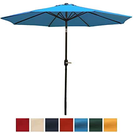 Charmant Sunnydaze 9 Foot Aluminum Outdoor Patio Umbrella With Tilt U0026 Crank,  Turquoise