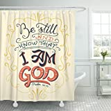 VaryHome Shower Curtain Believe Be Still and Know That I Am God Psalm 46 10 Hand Lettering Design Bible Quote Biblical Waterproof Polyester Fabric 72 x 72 inches Set with Hooks