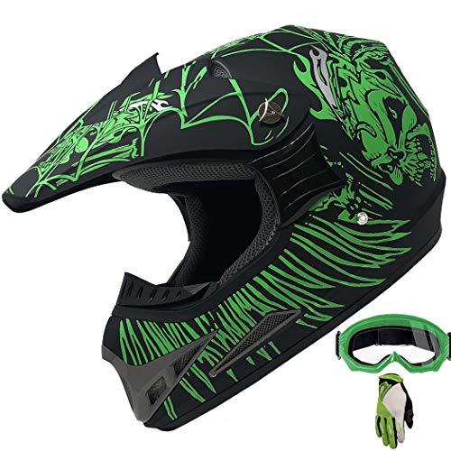 ATV Motocross Dirt Bike Mountain Bike Helmet Off-Road MX Helmet +Gloves+Goggles Combo M405 (190 Matt Green, XL) ()
