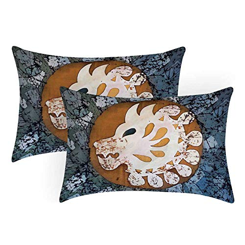 TecBillion Batik Decor Comfortable Pillow Covers,Grungy Wolf Visage Head in a Rounded Full Moon Form Night Knight Esoteric Image for Bedroom Living Room,Queen(30
