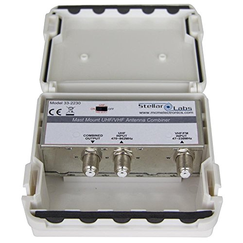 Stellar Labs 33-2230 UHF/VHF Signal Combiner, 2 Antenna/Single Feed, Weatherproof