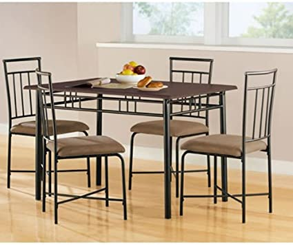 Amazoncom Mainstays 5 Piece Wood And Metal Dining Set Chairs