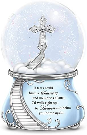 The Bradford Exchange Musical Glitter Globe with a Swarovski Crystal and Faux Gems Cross and Poem Card