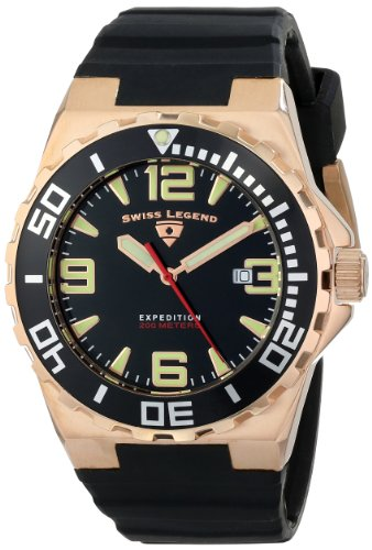 Swiss Legend Men's 10008-RG-01-BB Expedition Black Silicone Watch - Swiss Legend Rose Gold Tone Watch
