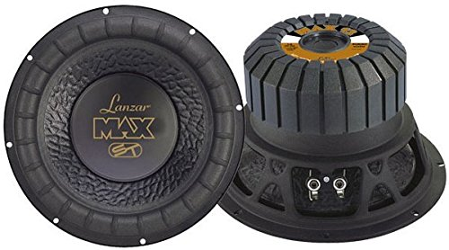 2' Kapton Voice Coil - Lanzar 12in Car Subwoofer Speaker - Black Non-Pressed Paper Cone, Stamped Steel Basket, 4 Ohm Impedance, 1000 Watt Power and Rubber Suspension for Vehicle Audio Stereo Sound System - MAX12