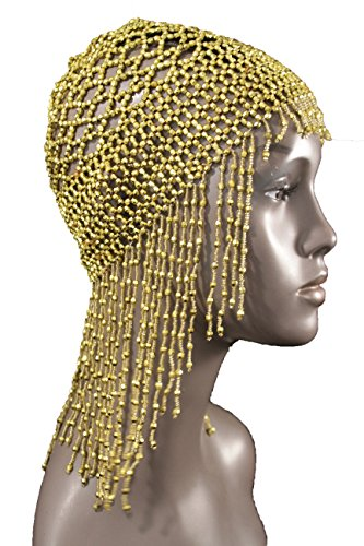 TFJ Women Head Piece Halloween Gold Color Beads Long Fringes Stretch Web Elastic Net Party Hat - Las Vegas Costume Contest 2016