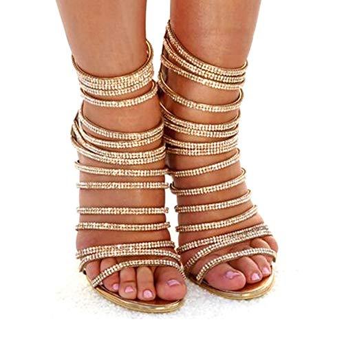 azmodo Woman High Stiletto Heel Dress Gladiator Peep Toe Sandals Gold 813-6 (US 8.5 / EU 39 / UK 6.5 / CN 40, Gold)
