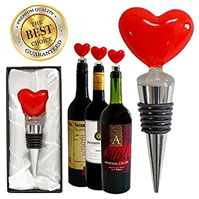 Premium Decorative Glass Red Heart Wine and Beverage Bottle Stopper, Cork, Handmade for Gift, Party, Decor, Christmas, Halloween, Wedding and Valentines (With Gift Box)