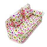 Pixnor Lovely Miniature Furniture Flower Print Sofa Couch With 2 Cushions For Barbie Flower 8.50cm