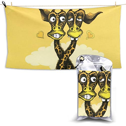 Printed Beach Towel, Neck Intertwined Giraffe Super Absorbent, Quick Dry, Large Microfiber Bath Towels