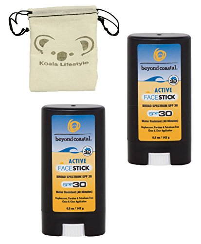 Beyond Coastal Active Face Stick SPF 30 Sunscreen | All Natural Paraben Free Sun Block Protection | 2pk Bundle + Pouch, 1 Ounce Active Sunscreen
