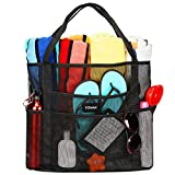 Mesh Beach Bag Toy Tote Bag Grocery Storage Net Bag Oversized Big XL with Pockets Foldable Lightweight for Family Pool