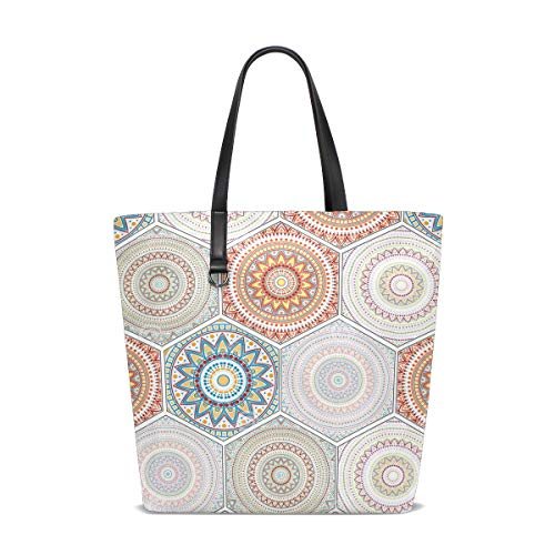 (Hexagon Design Elements With Moroccan Motif Tote Bag Purse Handbag Womens Gym Yoga Bags for Girls)