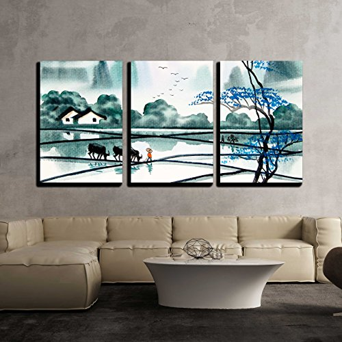 China Wall Brush - wall26 - 3 Piece Canvas Wall Art - Chinese Landscape Watercolor Painting - Modern Home Decor Stretched and Framed Ready to Hang - 24