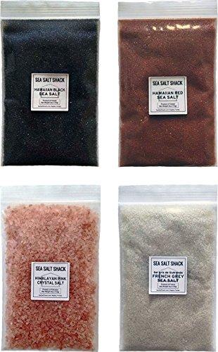 Sea Salt Shack Classic Variety 4 Pack | Himalayan Pink Crystal Salt, French Grey Sea Salt, Red Alaea Hawaiian Sea Salt, Black Lava Hawaiian Sea Salt (4oz Each)