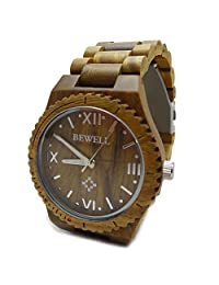 Handmade Bewell Wooden Watch Made with Natural sandalwood in Green - HGW-092-A