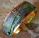 Verdigris Patina Solid Brass Decorative Dragonfly Cuff Bracelet - Turquoise