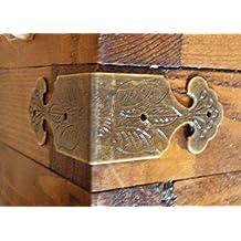 Celtic Woods Set Of 4 Vintage Antique Brass Colour Metal Box Corners Braces Straps Angle C029