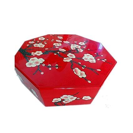 Hongge Caja Joyero,Pulsador luz Laca mercancías Ciruela Pintado a Mano Caramelos Caja Frutos Secos