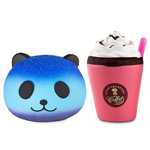 (BeYumi Squishy Toy, Cute Star Panda + Cream Cup Squishy Cream Scented Kawaii Charms Toy Stress Reliever for Time Killing Bread Decompression Squeeze Toys for Collection Gift, Decorative Props)