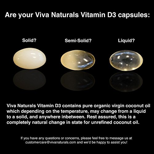 Viva Naturals Vitamin D3 (2000 IU) - High Potency Vitamin D with Organic Coconut Oil, 360 Softgels