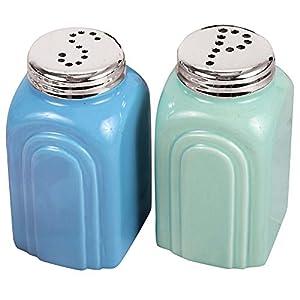 50s Retro Stoneware Salt and Pepper Shakers Set 9
