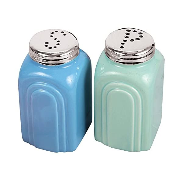 50s Retro Stoneware Salt and Pepper Shakers Set 1