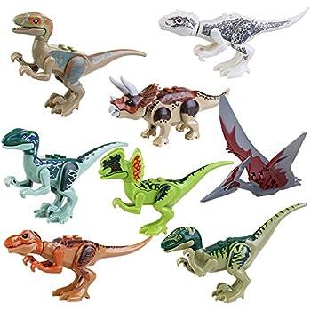 IROCH 8pcs ABS Dinos Toy,Dinosaur Building Blocks Miniature Action Figures