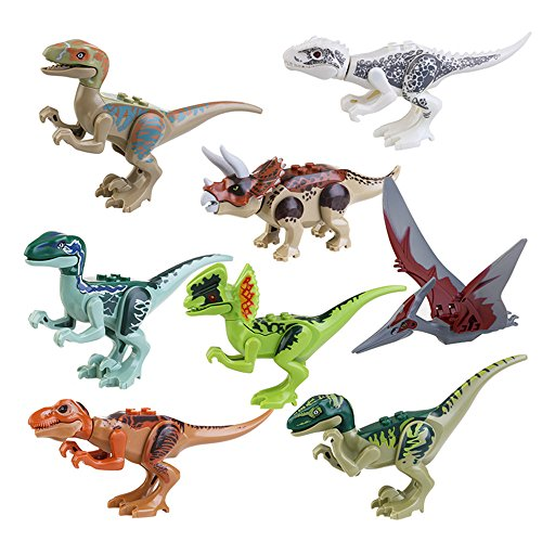 Iroch 8Pcs Abs Dinos Toy Dinosaur Building Blocks Miniature Action Figures