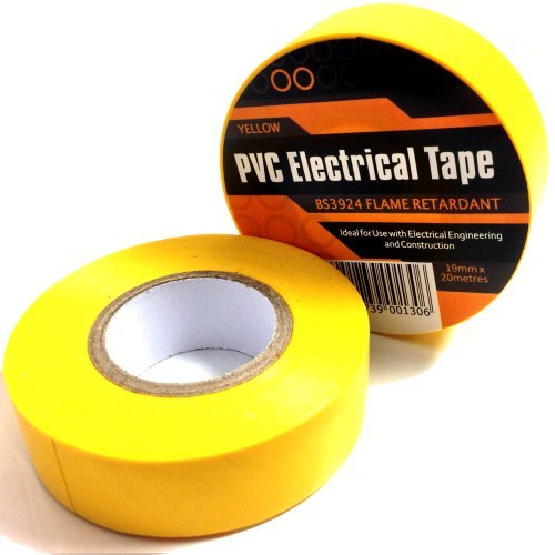 2 x YELLOW ELECTRICAL PVC INSULATION / INSULATING TAPE 19mm x 20m - FLAME RETARDANT by Falcon workshops by Falcon workshops (Image #1)