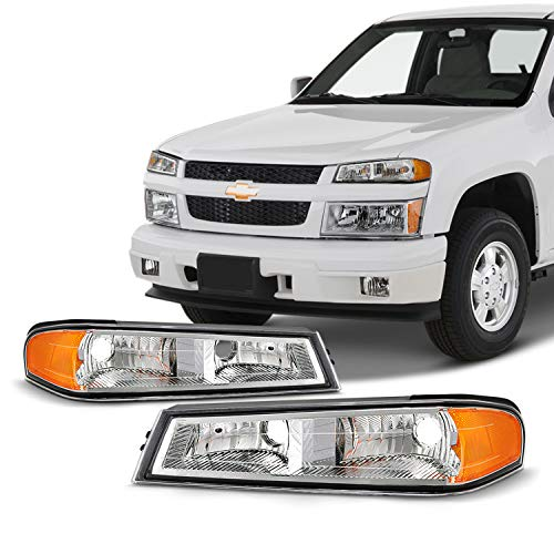 Fits 2004-2012 Chevy Colorado GMC Canyon 06-08 Isuzu i-Series Chrome Bumper Signal Parking Lights Lamp Pair Left+Right Colorado Parking Signal Light