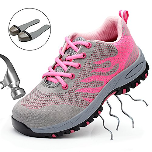 SUADEX Steel Toe Shoes Men, Work Shoes, Safety Shoes, Steel Toe Boots for Men, Pink-40