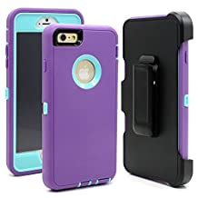 iPhone 6 Plus/6S Plus Case, Crosstree Hybrid Rubber Plastic Impact Defender Rugged Hard Case with Built-in Screen Protector and Belt Clip Holster(Purple/Lt Blue & Clip)