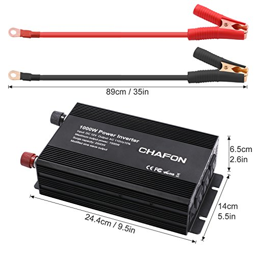 Chafon 1000W Power Inverter DC 12V to 110V with 3 AC Outlets Car Inverter for Household Appliances, RV Solar Kit in case Emergency, Outage and Hurricane - Black by CHAFON (Image #1)