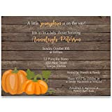 Baby Shower Invitations, Rustic Pumpkin, Wood, Brown, Orange, Green, White, Harvest, Pumpkins, Gender Neutral, Unisex, Pumpkin Baby Shower, Set of 10 Custom Printed Invites with Envelopes