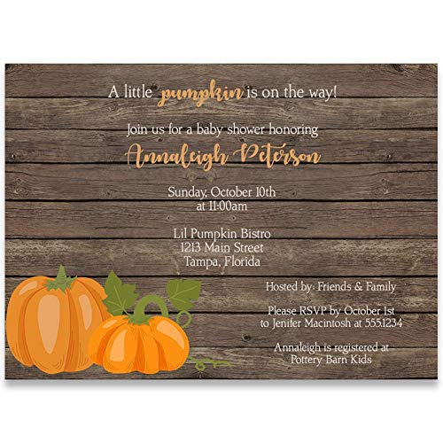 Baby Shower Invitations, Rustic Pumpkin, Wood, Brown, Orange, Green, White, Harvest, Pumpkins, Gender Neutral, Unisex, Pumpkin Baby Shower, Set of 10 Custom Printed Invites with Envelopes by The Invite Lady (Image #1)