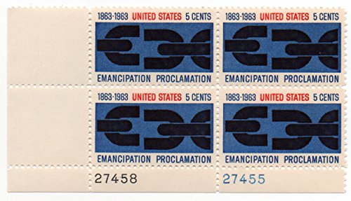 EMANCIPATION PROCLAMATION ~ BROKEN CHAINS ~ BLACK HISTORY ~ BLACK HERITAGE #1233 Plate Block of 4 x 5¢ US Postage Stamps