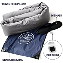 Travel Pillow for Airplanes – Flight Pillow – Neck Pillow Set – Earplugs – Sleep Mask – Drawstring Bag – 3 in 1 Travel Set – Nap Pillow – Neck Support – Travel Lumbar Support