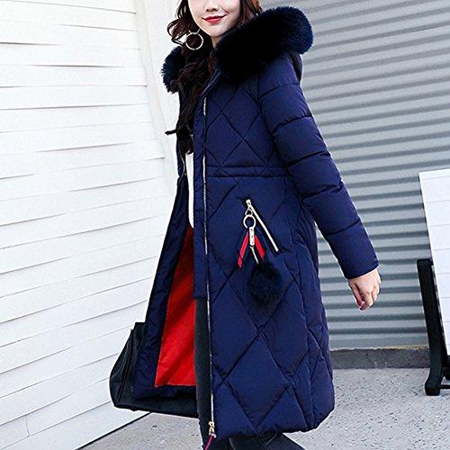 Jacket 10 Blue 8 Cotton Puffer Down Fur 6 12 Hooded Long Dark Women's Collar Coat Thickened Size iShine Winter Parka Warm RPqvpxT
