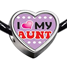 GiftJewelryShop Silver Plated I Heart My Aunt Photo Heart Charm Beads Bracelets European Bracelets