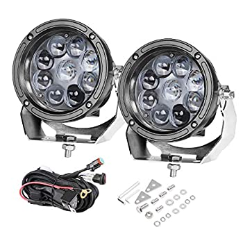 Image of Light Bars LED Pods, 5 inch AKD Part 90W CREE Round Offroad Lights LED Spot Lights with Wiring Harness Light Bar Pods Bumper Driving Lights Jeep 4x4 Work Lights Fog Lamp For Truck UTV ATV SUV Boat Lights (2 Pcs)