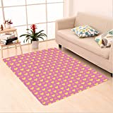 Nalahome Custom carpet Mixed Motifs with Hearts Blossoms Linked Circle Cute Girls Kids Design Seafoam Yellow Baby Pink area rugs for Living Dining Room Bedroom Hallway Office Carpet (32.4''x118'')