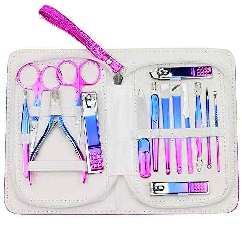 ZIZZON Manicure set Pedicure kit Nail Care Grooming tool with Zipper Travel Case Blue Purple