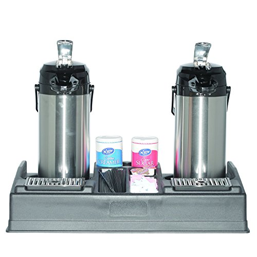 Service Ideas APR25BL Double Airpot Stand and Condiment Station, Holds 2 Airpots-5 Condiments, Black Plastic