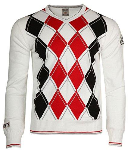 Cipo & Baxx Herren Pullover Weiß/Rot/Schwarz Creator C-6281-WHT