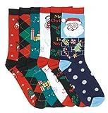 I&S 6 Pairs Christmas Socks, Printed Fun Colorful Festive, Crew Sock Women Colorful Fancy Design Soft