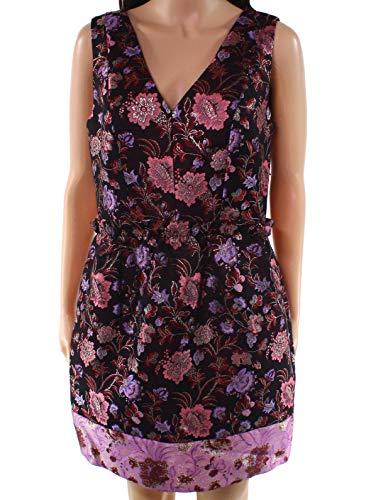 - Laundry by Shelli Segal Pink Floral Jacquard Shift Dress Black 6