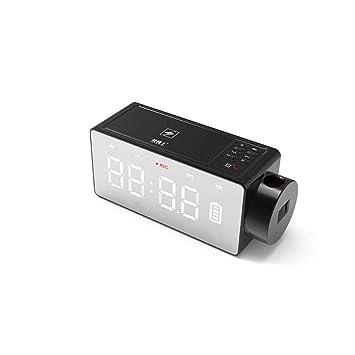 CHULENI Proyección de Carga inalámbrica Reloj Digital Bluetooth Altavoz LED Alarma de Pantalla Grande Snooze FM